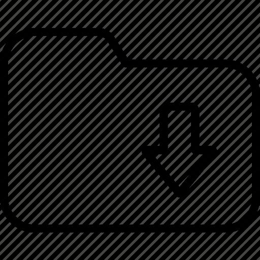 arrow, data, downloads, files, folder, save, storage icon