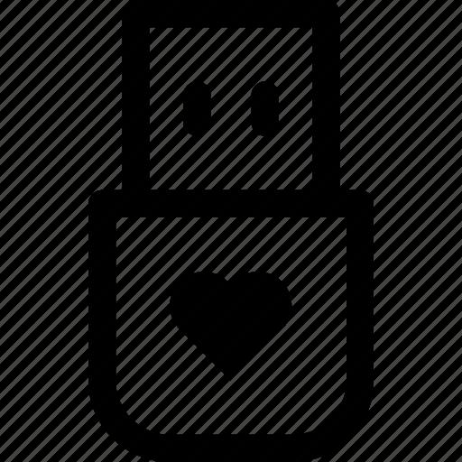 drive, files, heart, love, memory, storage, usb icon