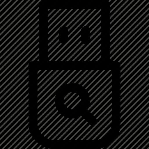 drive, memory, search, searching, stick, storage, usb icon
