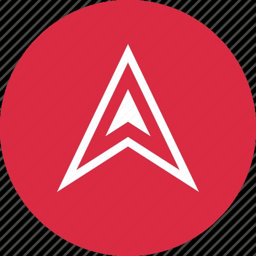 arrow, gps, nav, navigation, pin, up icon