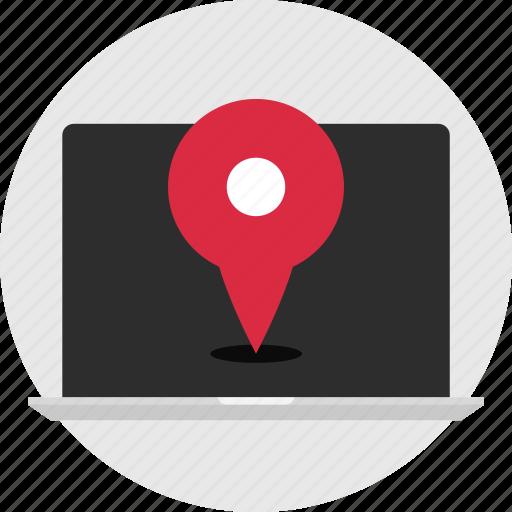 gps, laptop, nav, navigation icon