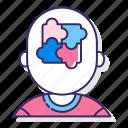 autism, disorder, head, puzzle icon