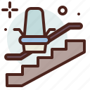 funding, handicap, injured, lift, stair icon