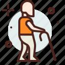 cane, funding, handicap, injured, walking, with icon