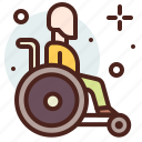 funding, handicap, human, injured, wheelchair icon