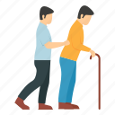 disabled, cane, paralyzed, walking, exercising, male nurse