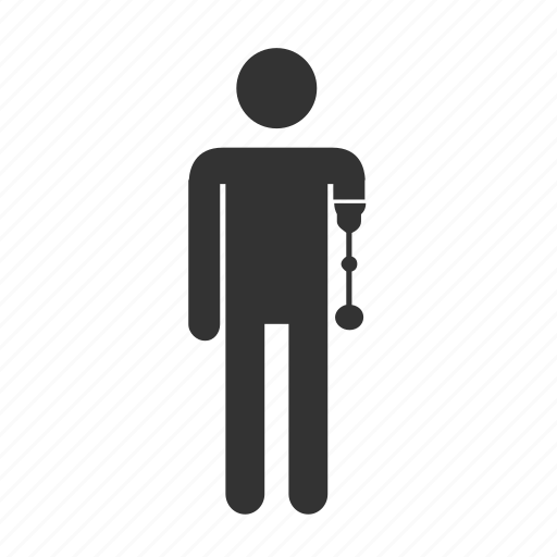 artificial arm, disable, disabled, handicap, person, priority seat, veteran icon