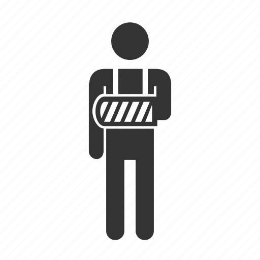 accident, arm, broken, cure, medical, patient, priority seat icon