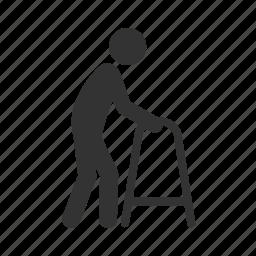 care, health, old, paraplegic, patient, priority seat, walker icon