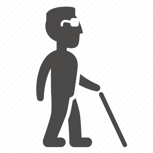 adult, blind, cane, disabled, health, man, people icon