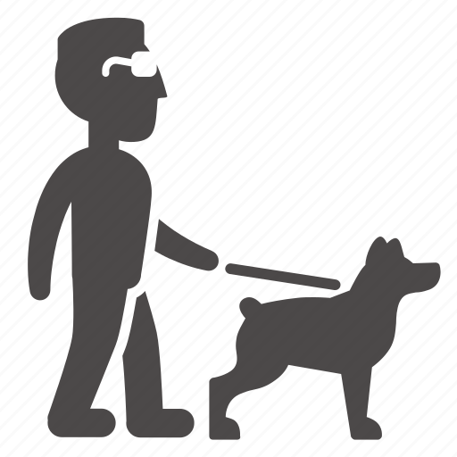 adult, blind, disabled, dog, guide, health, man icon