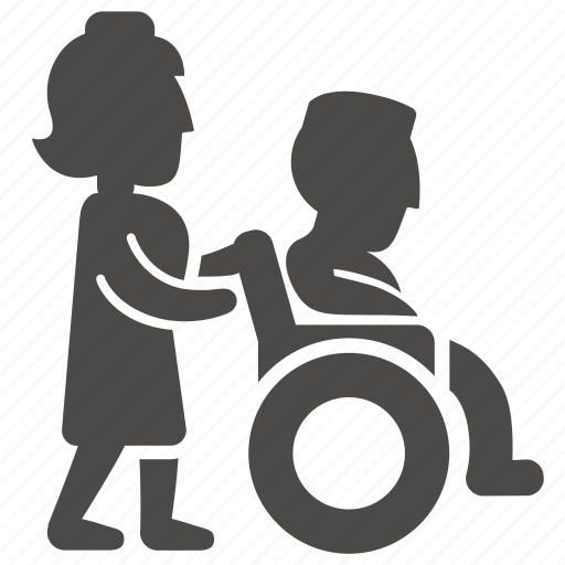 adult, disabled, health, immovable, man, nurse, wheelchair icon