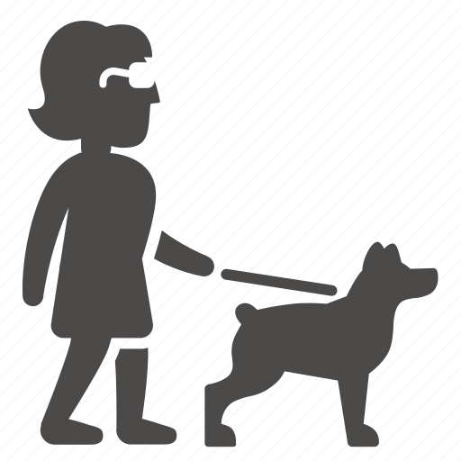 adult, blind, disabled, dog, guide, health, woman icon