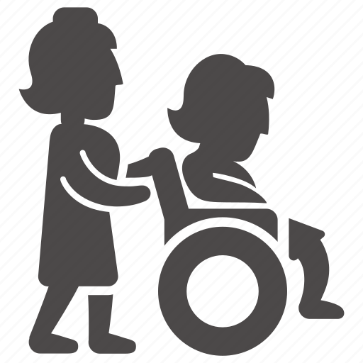 adult, disabled, health, immovable, nurse, wheelchair, woman icon