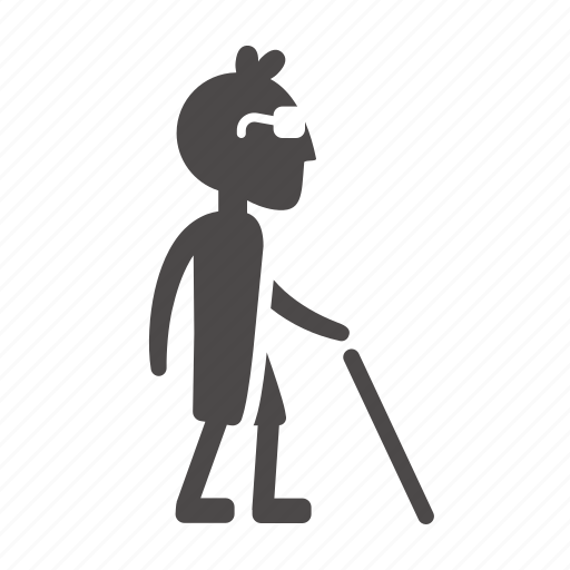 blind, boy, cane, child, disabled, health, people icon