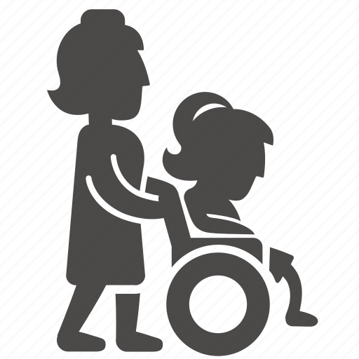 child, disabled, girl, health, immovable, nurse, wheelchair icon