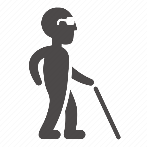 blind, cane, disabled, health, man, old, people icon