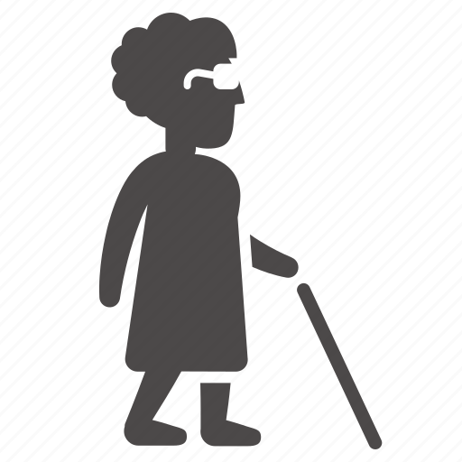 blind, cane, disabled, health, old, people, woman icon