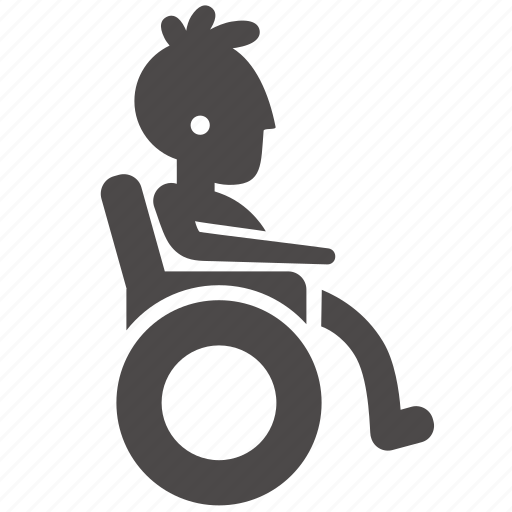 boy, disabled, health, human, people, teenager, wheelchair icon