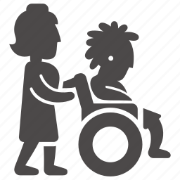 disabled, girl, health, immovable, nurse, teenager, wheelchair icon