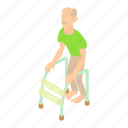 cartoon, disabled, frame, man, old, person, walking