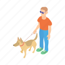 animal, blind, cartoon, disabled, dog, guide, pet icon