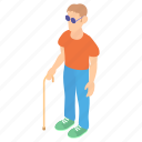 blind, blindness, cane, cartoon, man, person, stick