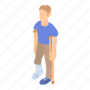 bone, cartoon, crutch, foot, injury, man, plaster icon