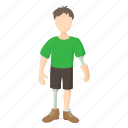 artificial, disability, disabled, health, leg, person, prosthetic icon