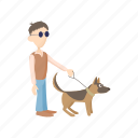 animal, blind, disabled, dog, eye, guide, man icon