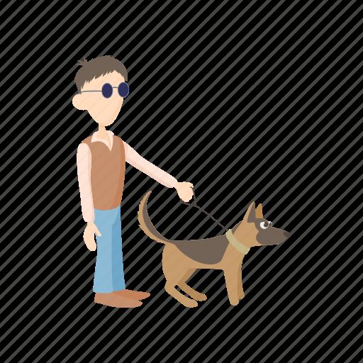 animal, blind, disabled, dog, eye, guide, man icon
