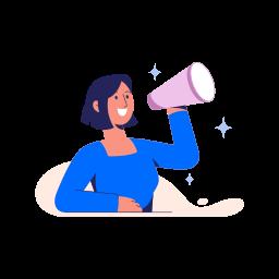 shout, announcement, megaphone, woman, girl