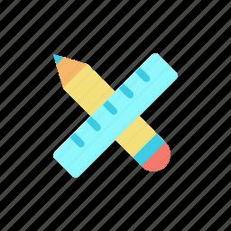 design, draw, measure, pencil, ruler icon