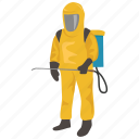 decontamination, hazardous, hazmat, materials, protective, suit icon