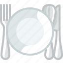 cooking, cutlery, deep plate, dishes, plate, setting, yumminky icon