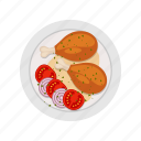 chicken, dish, food, grill, legs, meat, restaurant