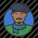 artist, avatar, avatars, beret, french, man, scarf