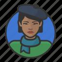 artist, avatar, avatars, beret, french, scarf, woman