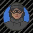 african, avatar, avatars, burglar, heist, thief, woman icon