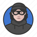 avatar, avatars, burglar, heist, thief, woman icon