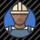 african, avatar, avatars, construction, hardhat, man, road crew icon