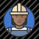 african, avatar, avatars, construction, hardhat, road crew, woman icon