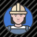 avatar, avatars, construction, hardhat, road crew, woman icon