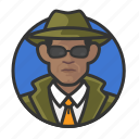 man, avatar, detective, private eye, investigator, avatars, african icon