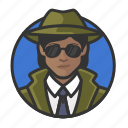 african, avatar, avatars, detective, investigator, private eye, woman icon