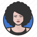 afro, avatar, avatars, disco, woman icon