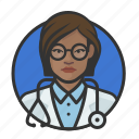 african, avatar, avatars, doctor, physician, woman icon