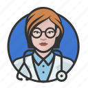 avatar, avatars, doctor, physician, woman icon