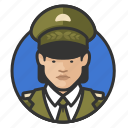asian, avatar, avatars, general, military, uniform, woman icon
