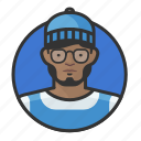 african, avatar, avatars, beanie, glasses, hipster, man icon